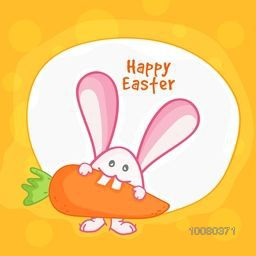 Cute Bunny eating carrot for Happy Easter celebration.