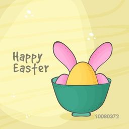 Elegant greeting card design with illustration of eggs in bowl for Happy Easter celebration.