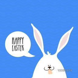 Elegant greeting card design with illustration of cute bunny wishing Happy Easter on blue background.
