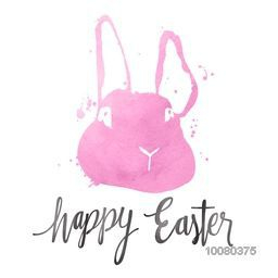 Creative Rabbit made by pink watercolor for Happy Easter celebration.
