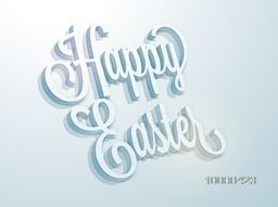 Elegant greeting card design with creative 3D text Happy Easter on shiny blue background.