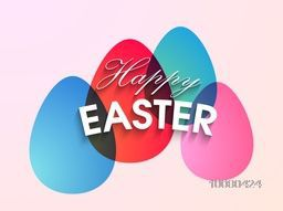 Happy Easter celebration greeting card design with glossy colorful eggs on shiny pink background.