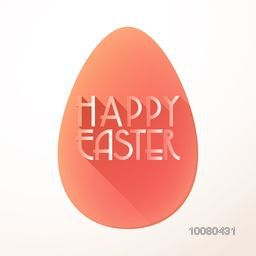 Elegant greeting card design with stylish text Happy Easter on big egg.