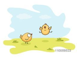 Happy Easter celebration with illustration of cute chicks, one of them jump on nature background.