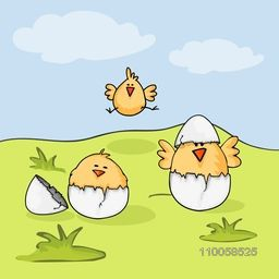 Happy Easter celebration with cute chicks and cracked egg on nature background.