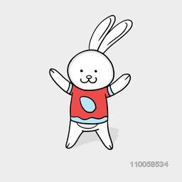 Happy Easter celebration with cute smiling bunny cartoon on grey background.