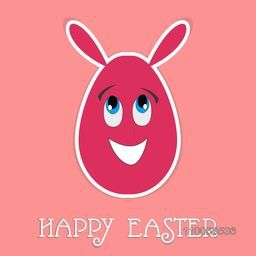 Funny Easter egg with bunny ears on pink background, can be used as sticker, tag or label design.
