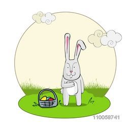 Happy Easter celebration with bunny and colorful eggs basket on nature background.