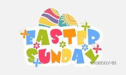 Colorful text Easter Sunday with flower, butterflies and decorated eggs on white background.