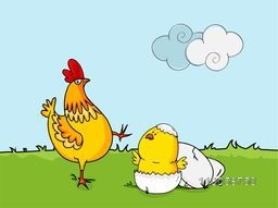 Happy Easter celebration with cock, chick and cracked eggs on nature background.