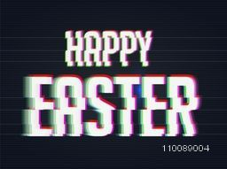 Happy Easter background in Glitch style.