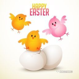 Cute background for Happy Easter celebrations with cute little chicks.
