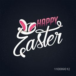 Stylish Happy Easter text with bunny ears.