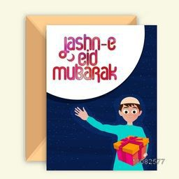 Greeting Card design with Envelope and Islamic Boy holding gift, Wishing and Celebrating on occasion of Jashn-E-Eid Mubarak.