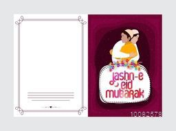 Beautiful Greeting Card with Islamic People hugging and wishing to each others on occasion of Jashn-E-Eid Mubarak.