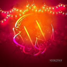 Glossy colourful Arabic Calligraphy text Eid-Ul-Fitr in Crescent Moon Shape on glowing illuminated bulbs background for Muslim Community Festival Celebration.