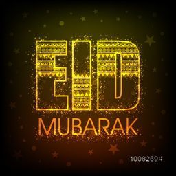 Glowing Golden Text Eid Mubarak with beautiful floral pattern on stars decorated background, Elegant Greeting Card design for Muslim Community Festival celebration.