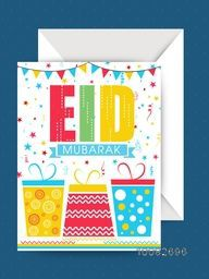 Colourful Text Eid Mubarak with Wrapped Gifts on confetti background, Elegant Greeting Card with Envelope for Muslim Community Festival celebration.