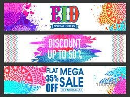 Colourful Website Header or Banner set of Mega Sale with Flat Discount Offer on occasion of Islamic Festival, Eid celebration.