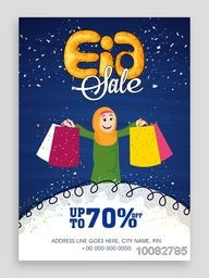 Eid Sale Flyer, Sale Banner, Sale Pamphlet, Discount Upto 70% Off, Vector Sale Illustration with Islamic Girl holding shopping bags.