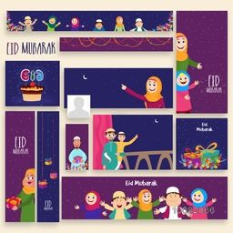 Creative Social Media Post and Header set with illustration of happy muslim people, Concept for Islamic Holy Festival, Eid Mubarak celebration.