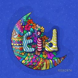 Colourful floral design decorated, Crescent Moon with Stylish Text Eid on flowers decorated blue background for Islamic Famous Festival celebration.