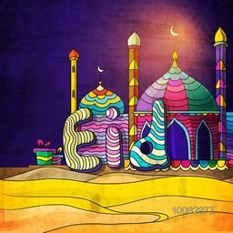 Beautiful Colourful Mosque with Stylish Text Eid on night background for Islamic Famous Festival celebration.