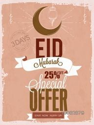 Creative Vintage Pamphlet, Banner or Flyer design of Special Offer Sale with 25% Off on occasion of Islamic Famous Festival, Eid Mubarak celebration.