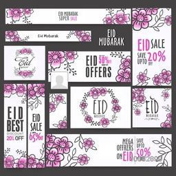 Eid Sale Social Media Ads, Sale Poster, Sale Headers or Sale Banners, Different Discount Offers, Vector Floral Flowers Decoration.