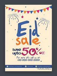 Eid Sale Pamphlet, Sale Banner, Sale Flyer, Sale Poster, Save upto 50%, Sale Background with colourful bunting, Vector illustration for Islamic Festival celebration.