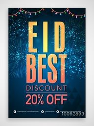 Eid Best Discount Pamphlet, Eid Sale Banner, Sale Flyer, 20% Off, Sale Background with beautiful fireworks and colourful lights, Creative vector illustration for Islamic Festival celebration.