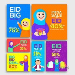 Eid Mega Sale with Exclusive Discount Offer, Creative Social Media Post and Header set with illustration of Muslim People, Concept for Islamic Famous Festival celebration.