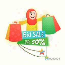 Eid Sale Poster, Sale Paper Banner, Sale Flyer, Sale Tag, Save Upto 50%, Creative illustration of a young happy Muslim Woman holding shopping bags.