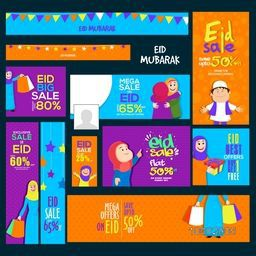 Eid Mega Sale with Discount Offer, Creative Social Media Post and Header set with illustration of Muslim People, Concept for Islamic Famous Festival celebration.