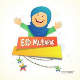 Illustration of a happy muslim woman and stars decorated glossy paper banners for Islamic Famous Festival, Eid Mubarak celebration.