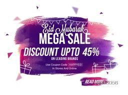 Creative Eid Mega Sale Flyer, Sale Banner, Sale Poster, Sale Pamphlet, Discount Upto 45% Off with abstract paint stroke.