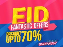 Eid Sale with Fantastic Offers, Sale Poster, Sale Banner, Sale Flyer, Sale Ribbon, Sale typographical background, Discount upto 70%, Vector illustration for Islamic Festival celebration.