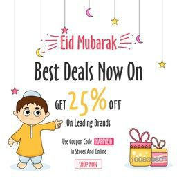 Stylish Sale Poster, Sale Banner, Sale Flyer, Get 25% Off on Leading Brands with illustration of Islamic Boy and Gifts for Muslim Community Festival, Eid Mubarak Celebration.