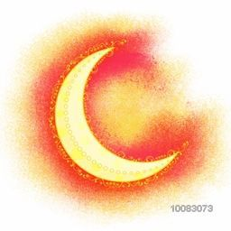 Beautiful Glossy Crescent Moon on creative abstract colour splash background, Concept for Islamic Festivals celebration.