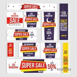 Eid Sale Social Media Ads, Sale Banners, Sale Headers, Sale Post, Different Discount Offers, Vector Sale Illustration.