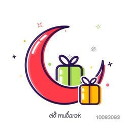 Creative Crescent Moon and Wrapped Gifts on white background, Elegant Greeting Card design for Muslim Community Festival celebration.