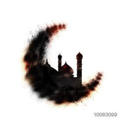 Creative Abstract Crescent Moon with Mosque on white background, Concept for Islamic Festivals celebration.