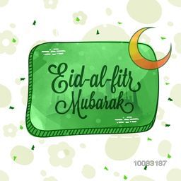Stylish Text Eid-Al-Fitr Mubarak on Mosque silhouetted background for Islamic Famous Festival celebration.