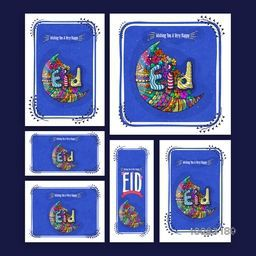 Creative greeting card set decorated with beautiful colourful crescent moon and typographic collection for Islamic Famous Festival, Eid celebration.