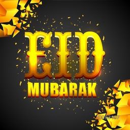 Elegant Greeting Card design with Golden Text Eid Mubarak on creative abstract background for Muslim Community Famous Festival celebration.