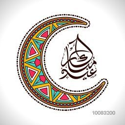 Colourful Artistic Crescent Moon with Arabic Islamic Calligraphy of text Eid Mubarak on shiny background.