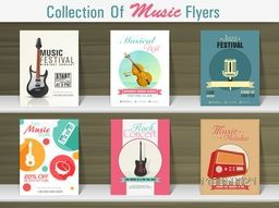 Collection of Music flyers for musical store and party celebration.