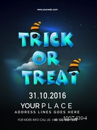 Creative template, banner or flyer with date and place details for Happy Halloween, Trick or Treat Party celebration.