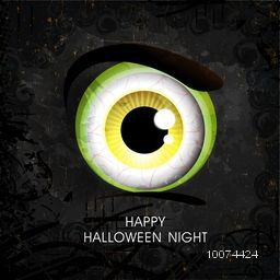 Scary monster eyes on grungy background for Happy Halloween Night Party celebration.