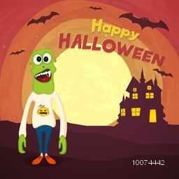 Scary Zombie with flying bat and haunted house on horrible night background for Happy Halloween Party celebration.